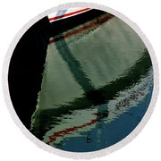 White Hull On The Water Round Beach Towel