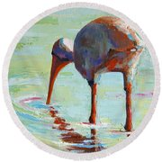 White Ibis  Everglades Bird  Round Beach Towel