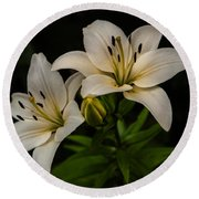 White Lilies Round Beach Towel by Davorin Mance
