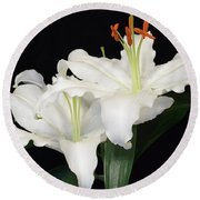 Round Beach Towel featuring the photograph White  Lilies by Jeannie Rhode