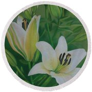 White Lily Round Beach Towel by Pamela Clements