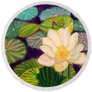White Lotus Flower Round Beach Towel