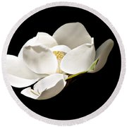 White Magnolia  Round Beach Towel by Debra Forand