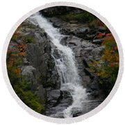 Round Beach Towel featuring the photograph White Mountain Water Fall  by Denyse Duhaime