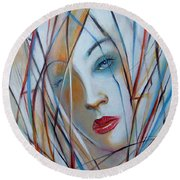 White Nostalgia 010310 Round Beach Towel by Selena Boron
