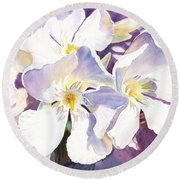 White Oleander Round Beach Towel