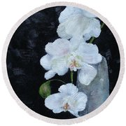 Round Beach Towel featuring the painting White Orchid by Judith Rhue