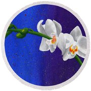 White Orchids Round Beach Towel by Laura Forde
