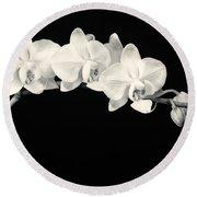 White Orchids Monochrome Round Beach Towel