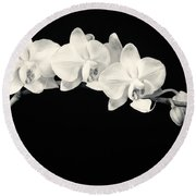 White Orchids Monochrome Round Beach Towel