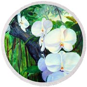 White Orchid's Round Beach Towel