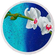 White Orchids On Blue Round Beach Towel by Laura Forde