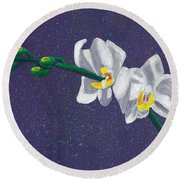 White Orchids On Dark Blue Round Beach Towel by Laura Forde