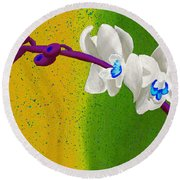 White Orchids On Yellow And Green Round Beach Towel by Laura Forde