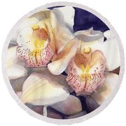 White Orchids Watercolor Round Beach Towel