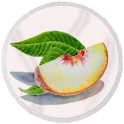 White Peach Slice  Round Beach Towel by Irina Sztukowski