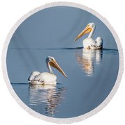Round Beach Towel featuring the photograph White Pelicans by Patti Deters