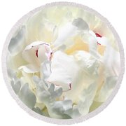 White Peony Round Beach Towel by Will Borden