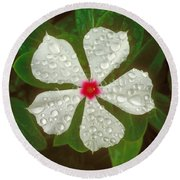 Round Beach Towel featuring the photograph White Periwinkle by Mark Greenberg