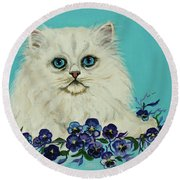 Round Beach Towel featuring the painting White Persian In Pansy Patch Original Forsale by Bob and Nadine Johnston