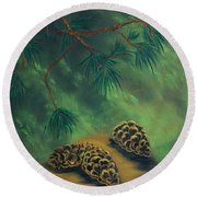 White Pine  And Cones Round Beach Towel
