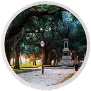 White Point Garden Walkway Charleston Sc Round Beach Towel