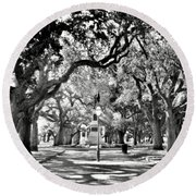 White Point Gardens At Battery Park Charleston Sc Black And White Round Beach Towel