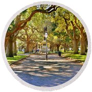 White Point Gardens At Battery Park Charleston Sc Hdr Round Beach Towel