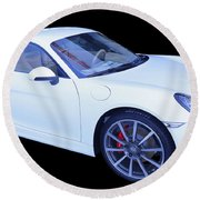 White Porsche Cayman S Round Beach Towel
