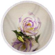 White Purple Lisianthus Round Beach Towel