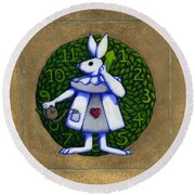 Round Beach Towel featuring the mixed media White Rabbit Wonderland by Donna Huntriss