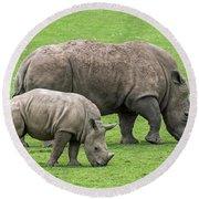 White Rhino 8 Round Beach Towel