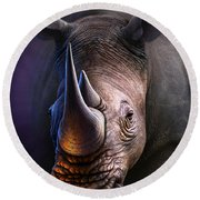 White Rhino Round Beach Towel