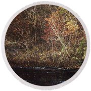 Round Beach Towel featuring the photograph White River by Donna Smith