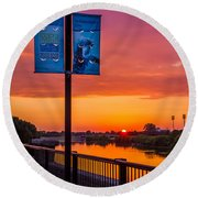 White River Sunset Round Beach Towel