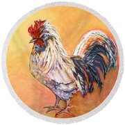 White Rooster Round Beach Towel