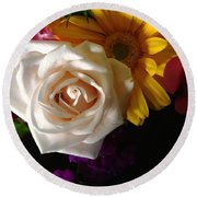 Round Beach Towel featuring the photograph White Rose by Meghan at FireBonnet Art