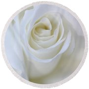White Rose Floral Whispers Round Beach Towel