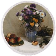 White Roses And Chrysanthemums Round Beach Towel by Ignace Henri Jean Fantin-Latour