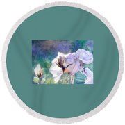 Round Beach Towel featuring the painting White Roses In The Shade by Greta Corens
