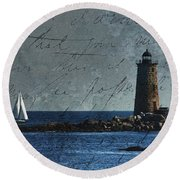 White Sails On Blue  Round Beach Towel by Jeff Folger