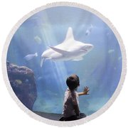 White Shark And Young Boy Round Beach Towel