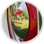 White Sidewalls On Chevy Round Beach Towel by E Faithe Lester