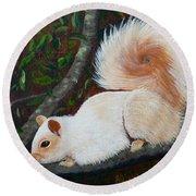 White Squirrel Of Sooke Round Beach Towel