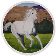 Round Beach Towel featuring the painting White Stallion by Norm Starks