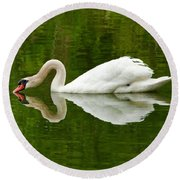 Round Beach Towel featuring the photograph Graceful White Swan Heart  by Jerry Cowart