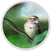 White-throated Sparrow Round Beach Towel by Kerri Farley