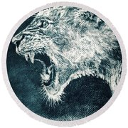 Leon Portrait Round Beach Towel