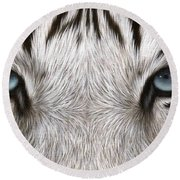 White Tiger Eyes Painting Round Beach Towel