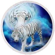 White Tiger Moon Round Beach Towel